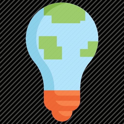 bulb, earth, eco, ecology, energy, light, nature icon