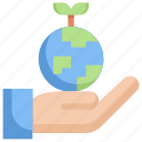 earth, eco, ecology, energy, hand, nature, save earth icon