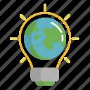 earth, ecology, energy, green, light earth icon