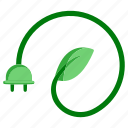 ecology, electricity, energy, environment, green, leaf, plug icon