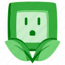 ecology, electricity, energy, environment, green, leaves, socket