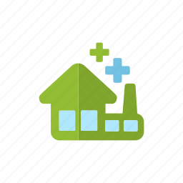 building, eco factory, environment, green, industry, power icon