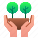 ecology, forest, hand, nature, save, tree icon