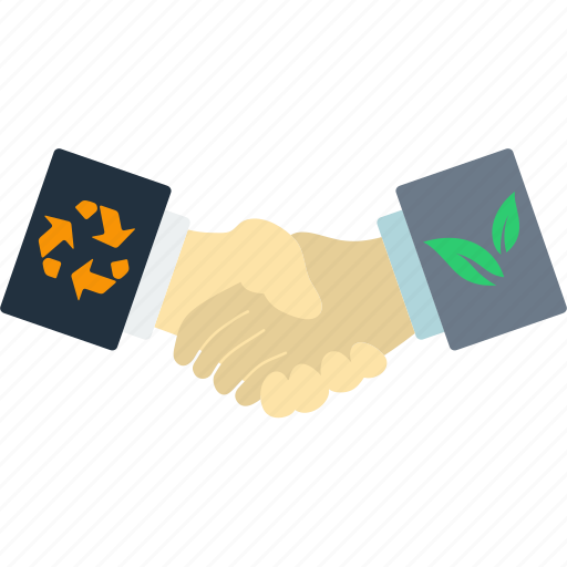 business, ecological, ecology, hand, handshakes, leaf, nature icon