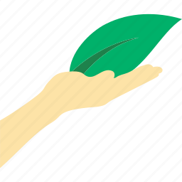 ecology, hand, hold, leaf, nature, plant icon