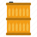 barrel, corp, ecology, fuel, nature, oil, wheat icon