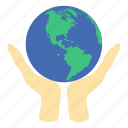 earth, ecology, globe, hand, hold, nature, planet icon