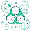 biohazard, ecology, microorganism, scientist icon