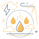 factory, pollution, rain, water