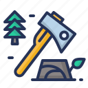 axe, deforestation, log, nature icon