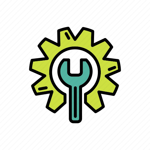 eco service, gear, green, maintenance, nature, wrench icon