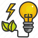 charge, electric, energy, green, leaf, nature, power icon