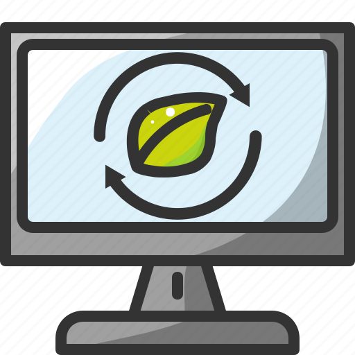 computer, eco, ecology, leaf, monitor, recycle, screen icon