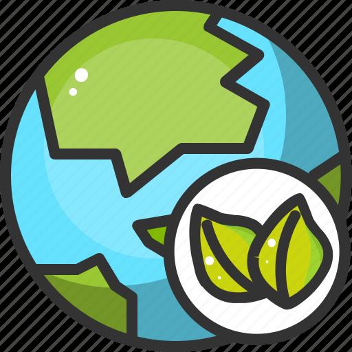 earth, eco, ecology, globe, green, leaf, world icon