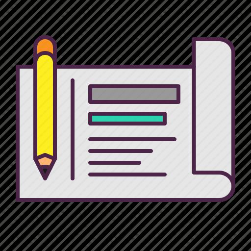 blueprint, management, marketing, plan, sketch, strategy icon