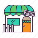business, cafe, ecommerce, front, shopping, store icon