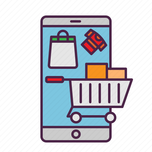 cart, ecommerce, online, sale, shopping, smartphone icon