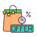 bag, coupon, ecommerce, limited, offer, shopping, tote icon