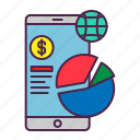 analysis, chart, data, ecommerce, pie, smartphone, statistic icon