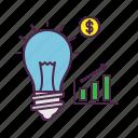 brilliant, bulb, ecommerce, idea, plan, profit, strategy icon