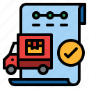 completed, ecommerce, sending, truck icon