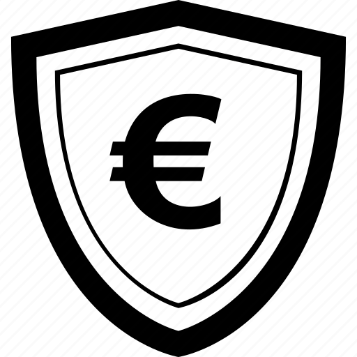 euro, mobile, online, payment, secure, shield icon
