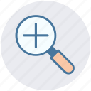 glass, magnifier, magnifying glass, zoom in icon