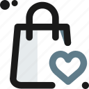 bag, ecommerce, heart, store, transaction icon