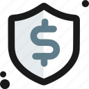 buy, dollar, ecommerce, shield, store, transaction, secure icon