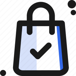 bag, buy, commerce, confirmation, sell, shopping, tick icon