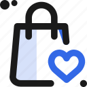 appreciate, bag, commerce, heart, like, love, shopping icon