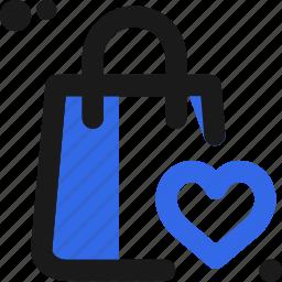 appreciate, bag, commerce, heart, like, love, shopping icon