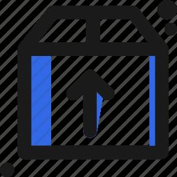 arrow, box, cloud, file, upload icon