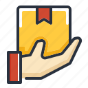 box, delivery, hand icon