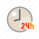 available round the clock, clock, available all the time, twenty four per hour, staff icon