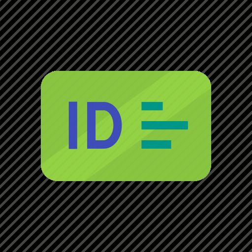 card, green, id, id card, identity card icon