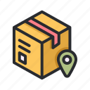 ecommerce, shop, package, box, map, pin, store