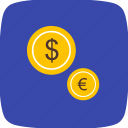 coins, dollar, euro icon