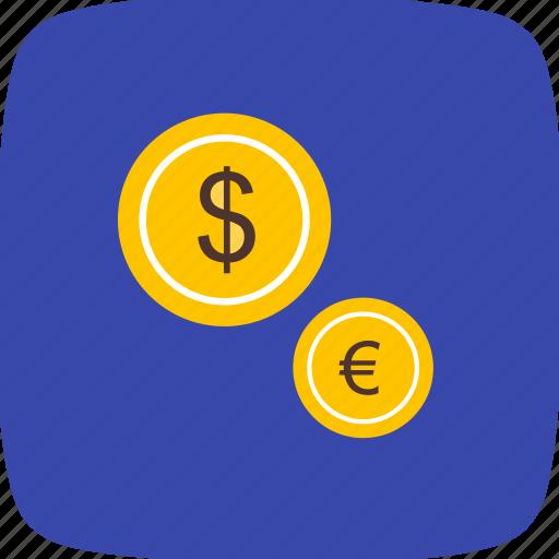 coins, dollar, euro, money icon