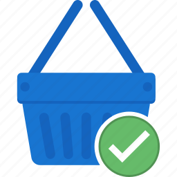 basket, business, cart, confirm, ecommerce, shopping icon