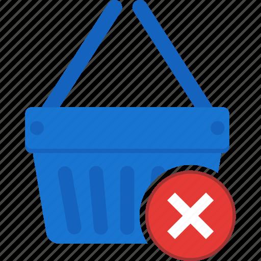 basket, business, cart, denied, ecommerce, shopping icon