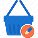 basket, business, ecommerce, edit, shipping, shopping, write icon