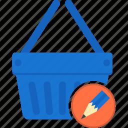basket, business, ecommerce, edit, shipping, shopping, write icon