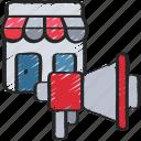 ecommerce, megaphone, promote, shop, store