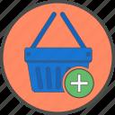 basket, add, cart, ecommerce, more, shopping
