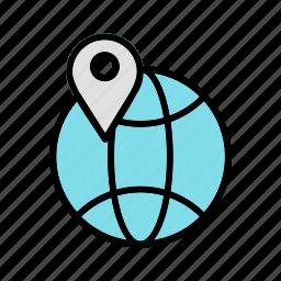 global, globe, pin, world icon
