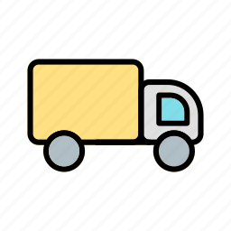 cargo, fast, moving, truck, van, white icon
