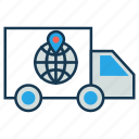 delivery address, delivery truck, delivery van, location, logistics, order, shipping icon