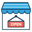 ecommerce, marketing, online market, online shop, online store, open icon
