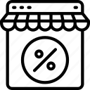 discount, ecommerce, percentage, shop, store icon